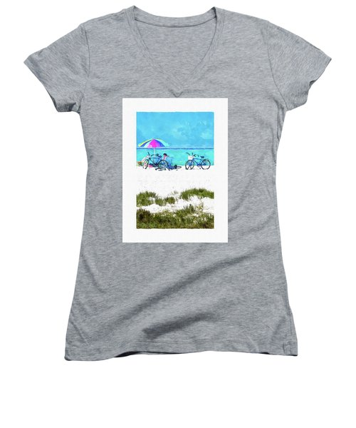 Siesta Key Beach Bikes Women's V-Neck T-Shirt (Junior Cut) by Susan Molnar