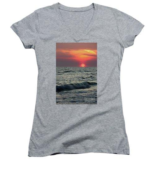 Women's V-Neck T-Shirt (Junior Cut) featuring the photograph Siesta Key Sunset by Terri Mills
