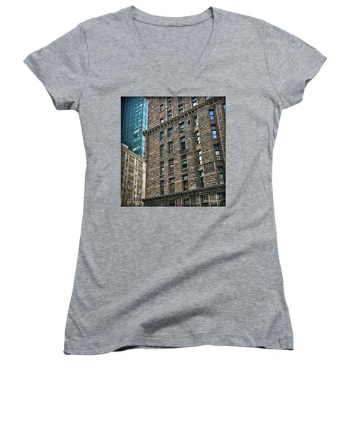 Women's V-Neck T-Shirt (Junior Cut) featuring the photograph Sights In New York City - Old And New by Walt Foegelle