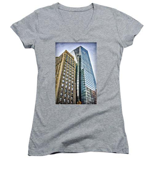 Women's V-Neck T-Shirt (Junior Cut) featuring the photograph Sights In New York City - Skyscrapers by Walt Foegelle