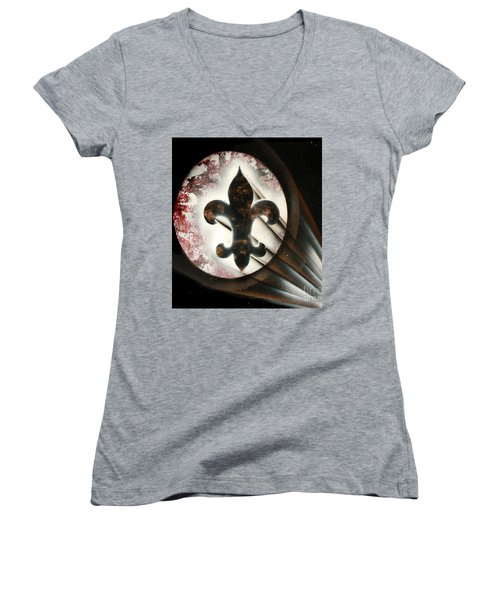 Women's V-Neck T-Shirt (Junior Cut) featuring the painting Signal Di Lis by Tbone Oliver