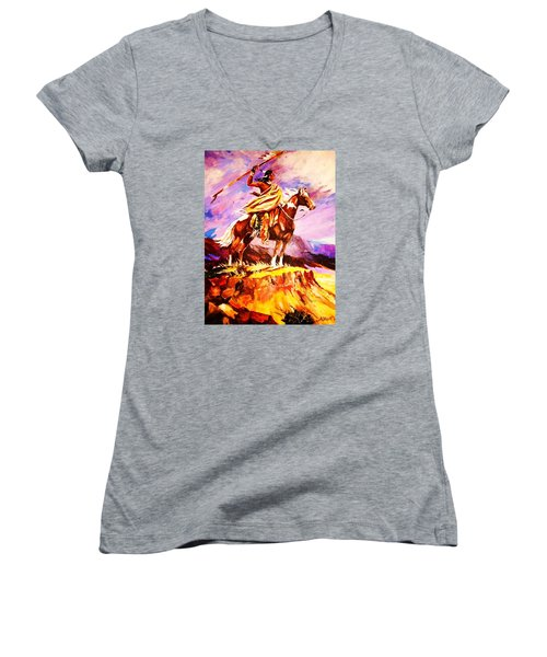 Women's V-Neck T-Shirt (Junior Cut) featuring the painting Signalling Sighting Of The Buffalo Herd by Al Brown