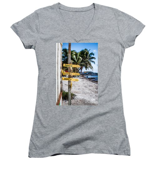 Women's V-Neck T-Shirt (Junior Cut) featuring the photograph Signs by Lawrence Burry