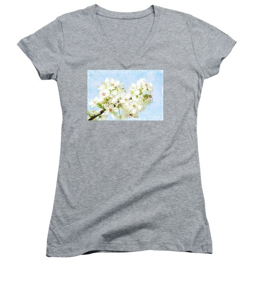 Signs Of Spring Women's V-Neck T-Shirt (Junior Cut) by Inspirational Photo Creations Audrey Woods