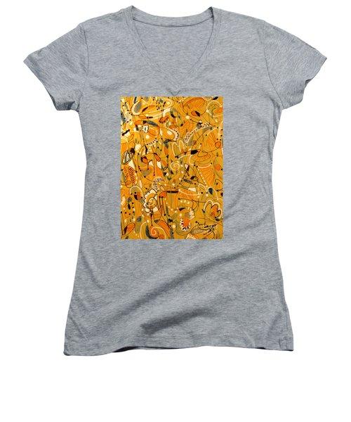 Signs Written In Big Print Women's V-Neck T-Shirt (Junior Cut) by Nancy Kane Chapman