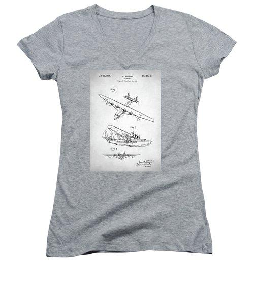 Women's V-Neck T-Shirt (Junior Cut) featuring the digital art Sikorsky Seaplane Patent by Taylan Apukovska