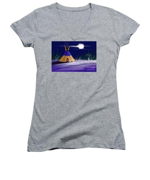 Silence In The Moonlight Women's V-Neck T-Shirt