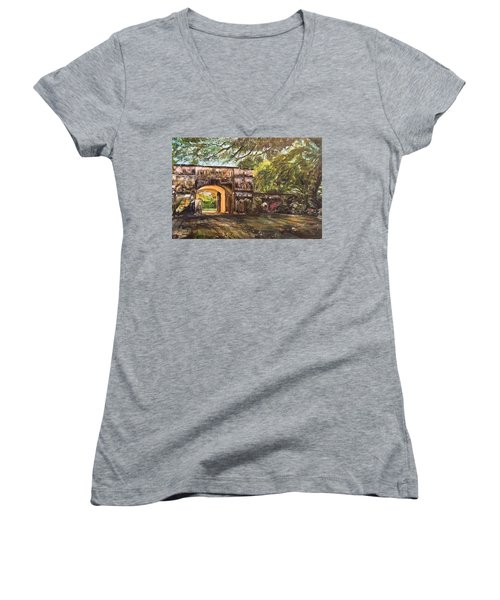 Silence Is Golden Women's V-Neck T-Shirt (Junior Cut) by Belinda Low