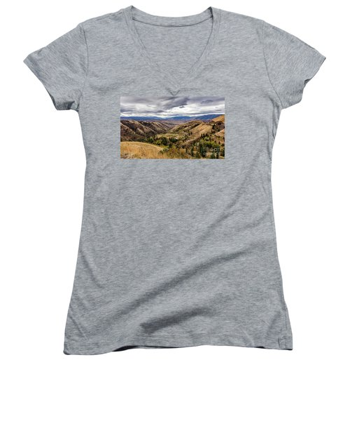 Silence Of Whitebird Canyon Idaho Journey Landscape Photography By Kaylyn Franks  Women's V-Neck (Athletic Fit)