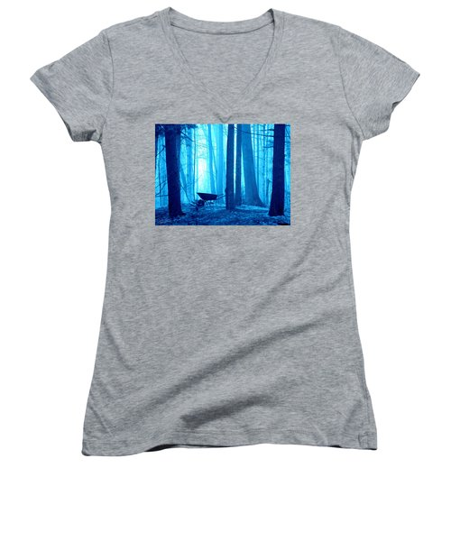 Women's V-Neck T-Shirt (Junior Cut) featuring the photograph Silent Forest by Al Fritz
