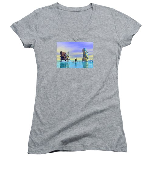 Women's V-Neck T-Shirt (Junior Cut) featuring the digital art Silent Mind - Surrealism by Sipo Liimatainen