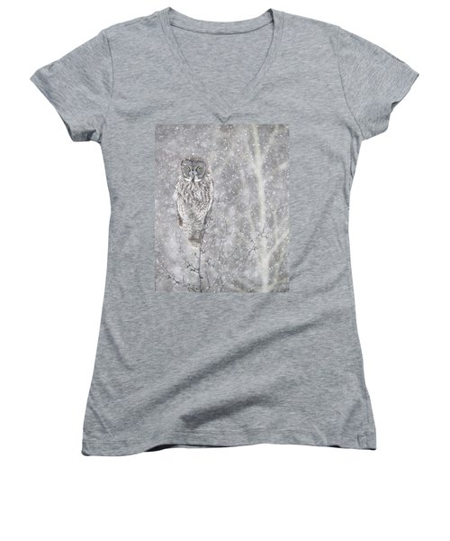 Women's V-Neck T-Shirt (Junior Cut) featuring the photograph Silent Snowfall Portrait by Everet Regal