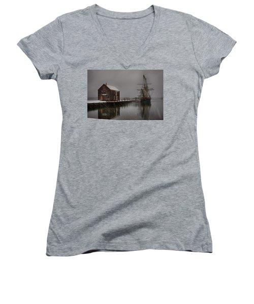 Silently The Snow Falls. Women's V-Neck
