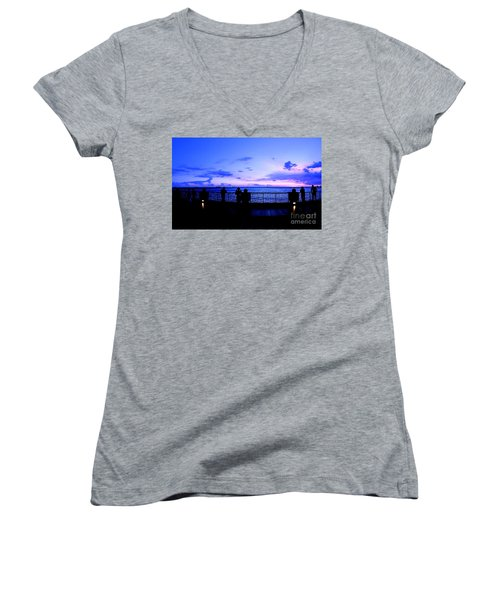 Women's V-Neck T-Shirt (Junior Cut) featuring the photograph Silhouette Of People At Sunset by Yali Shi