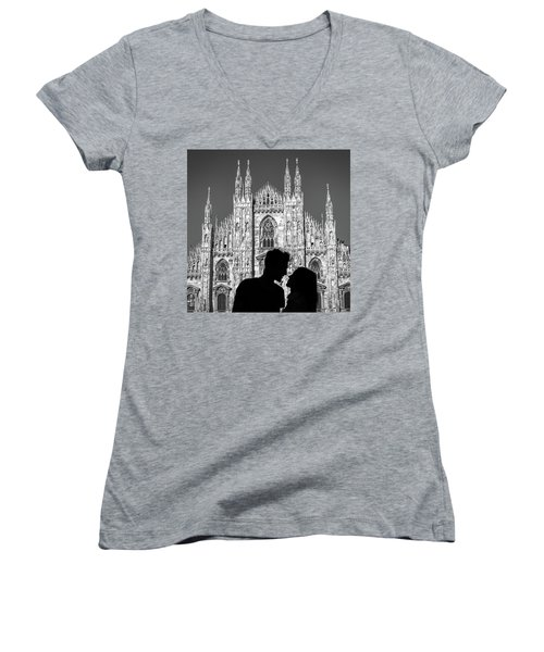 Silhouette Of Young Couple Kissing In Front Of Milan's Duomo Cathedral Women's V-Neck