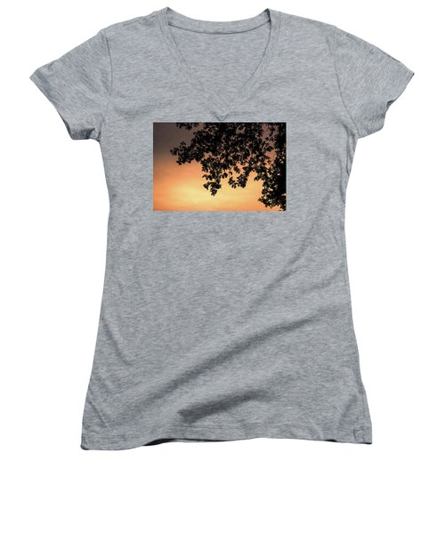 Silhouette Tree In The Dawn Sky Women's V-Neck T-Shirt (Junior Cut) by Jingjits Photography
