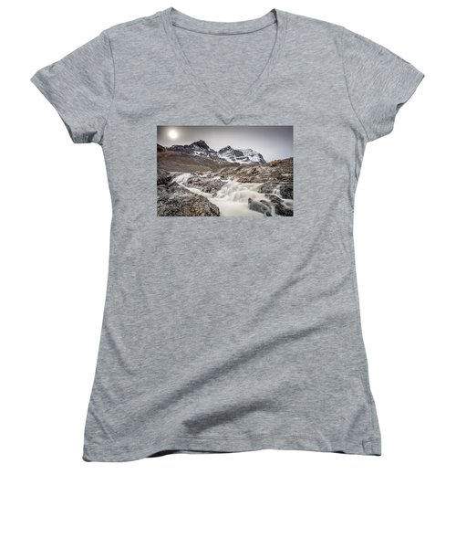 Women's V-Neck T-Shirt (Junior Cut) featuring the photograph Silky Melt Water Of Athabasca Glacier by Pierre Leclerc Photography
