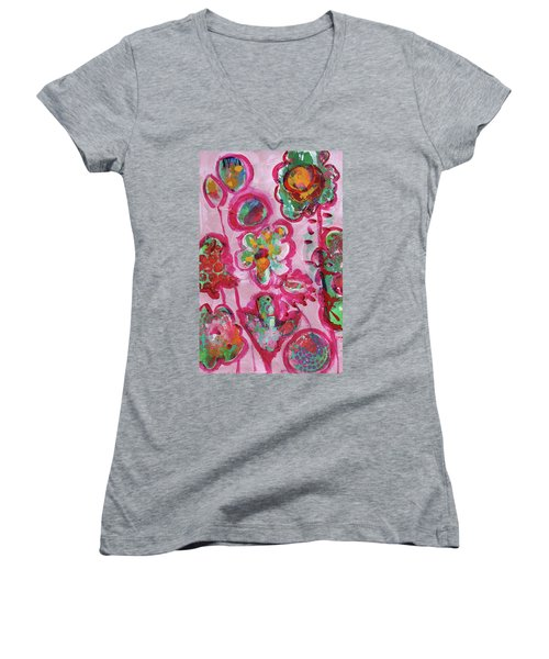 Silly Flowers Women's V-Neck