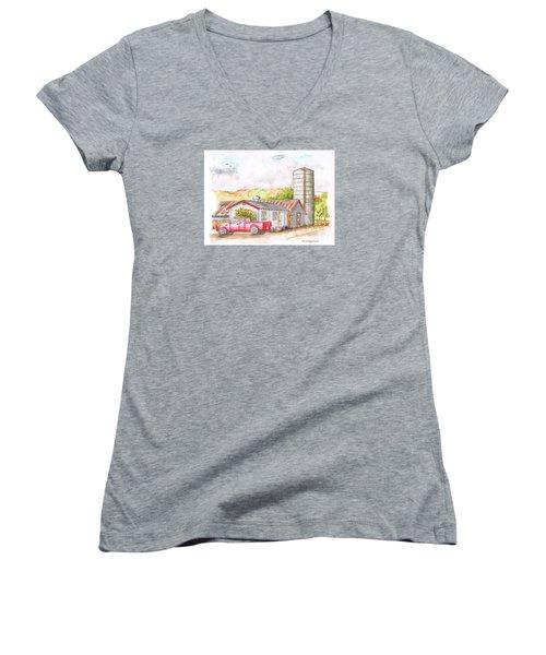 Silo In Los Olivos, California Women's V-Neck T-Shirt (Junior Cut) by Carlos G Groppa