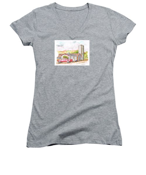 Silo In Los Olivos, California Women's V-Neck (Athletic Fit)