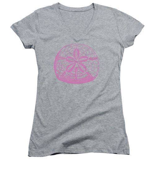 Women's V-Neck T-Shirt (Junior Cut) featuring the digital art Silver Dollars Shell Tee by Edward Fielding