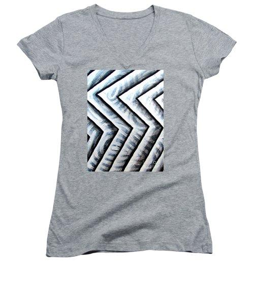 Silver Glass Waves Study 1  Women's V-Neck T-Shirt