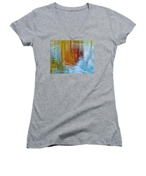 Silver Lake Autumn Reflections Women's V-Neck T-Shirt (Junior Cut) by Michael Bessler