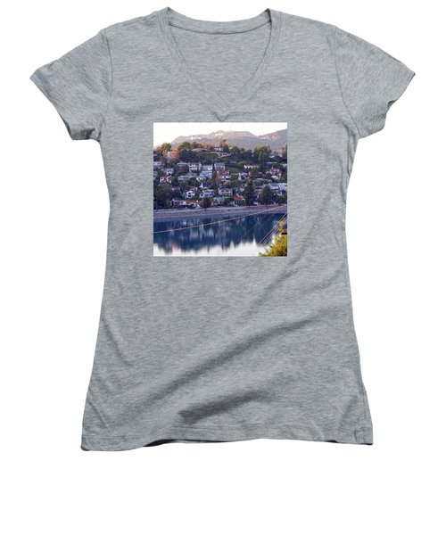 Silver Lake Reservoir With Griffith Observatory And Hollywood Sign Women's V-Neck