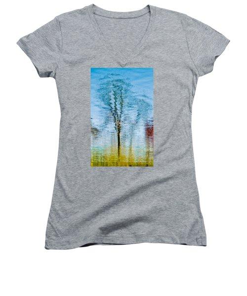 Silver Lake Tree Reflection Women's V-Neck T-Shirt (Junior Cut) by Michael Bessler