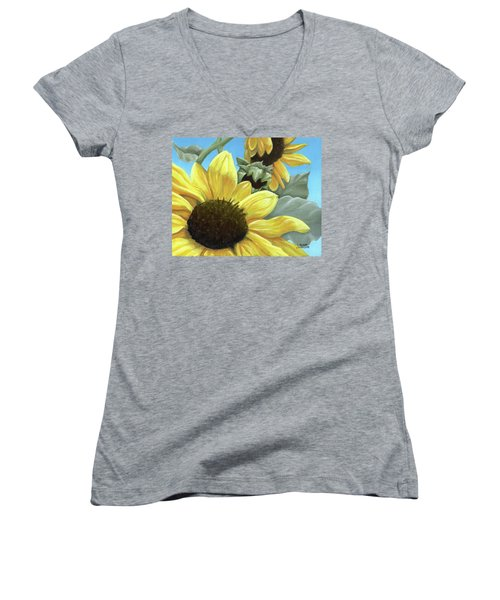 Silver Leaf Sunflower Growing To The Sun Women's V-Neck (Athletic Fit)
