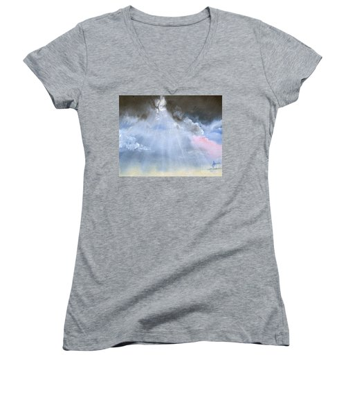 Silver Lining Behind The Dark Clouds Shining Women's V-Neck T-Shirt (Junior Cut) by Jane Autry