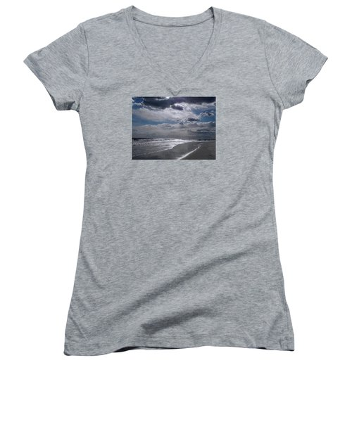 Women's V-Neck T-Shirt (Junior Cut) featuring the photograph Silver Linings Trim The Sea by Lynda Lehmann