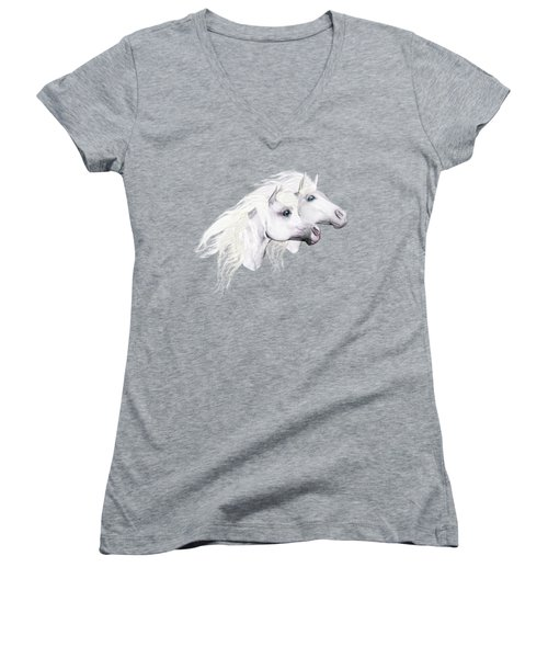 Women's V-Neck featuring the painting Silver Manes by Valerie Anne Kelly
