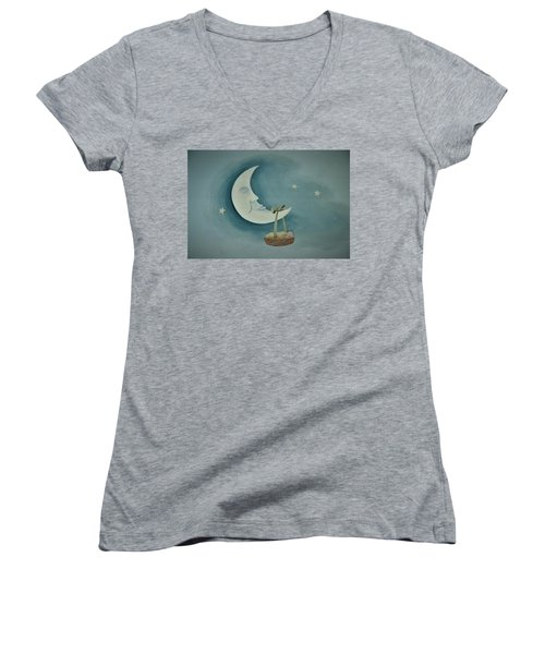 Silver Moon With Picnic Basket Women's V-Neck T-Shirt