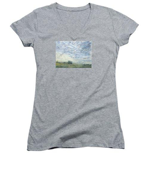 Silver Sky Women's V-Neck T-Shirt