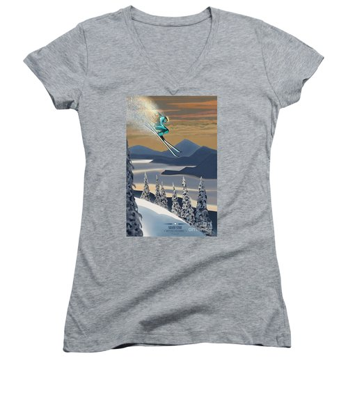 Silver Star Ski Poster Women's V-Neck