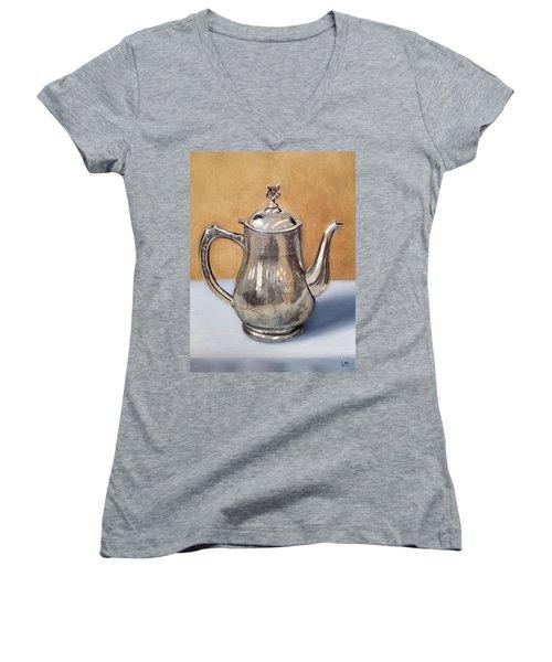 Silver Teapot Women's V-Neck (Athletic Fit)