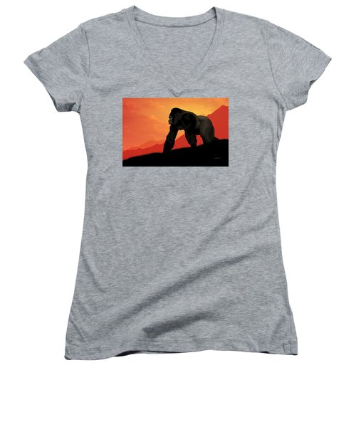 Silverback Gorilla Women's V-Neck T-Shirt (Junior Cut) by John Wills