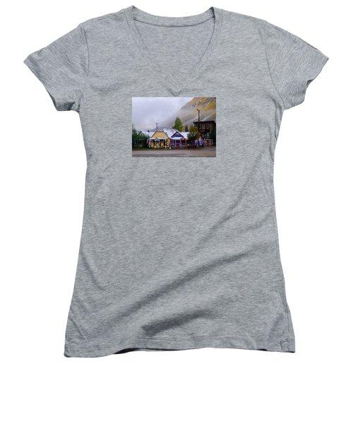 Silverton Back Street Women's V-Neck T-Shirt (Junior Cut) by Laura Ragland