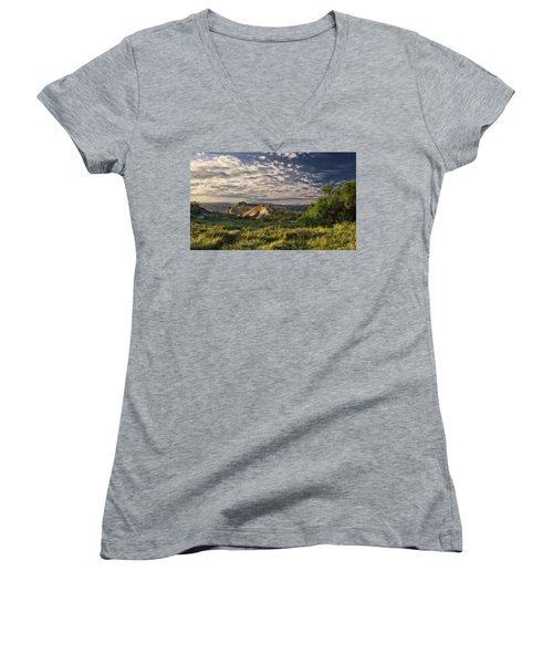 Simi Valley Overlook Women's V-Neck T-Shirt (Junior Cut) by Endre Balogh
