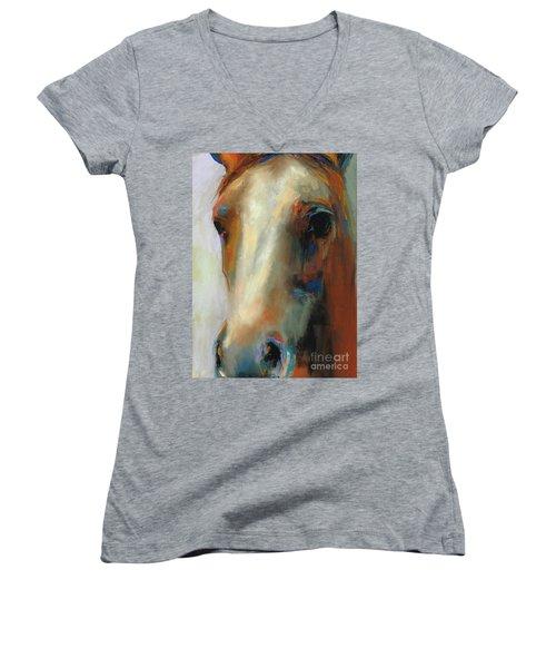 Simple Horse Women's V-Neck T-Shirt (Junior Cut) by Frances Marino