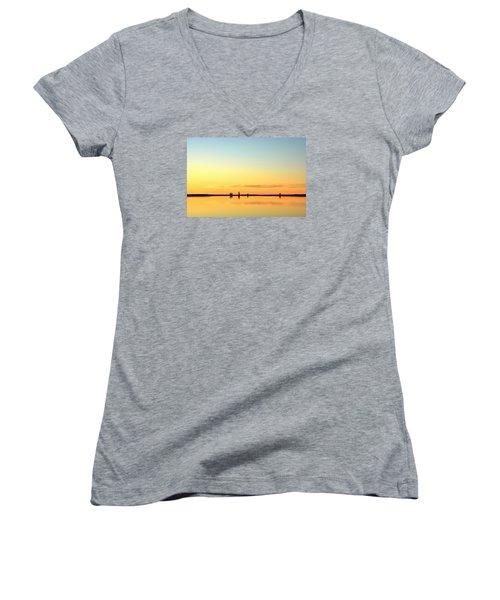 Simple Sunrise Women's V-Neck T-Shirt (Junior Cut) by Fiskr Larsen