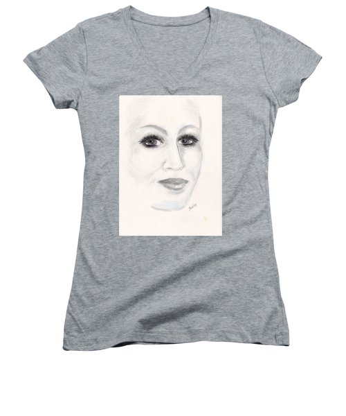 Women's V-Neck T-Shirt (Junior Cut) featuring the drawing Simply Woman by Desline Vitto