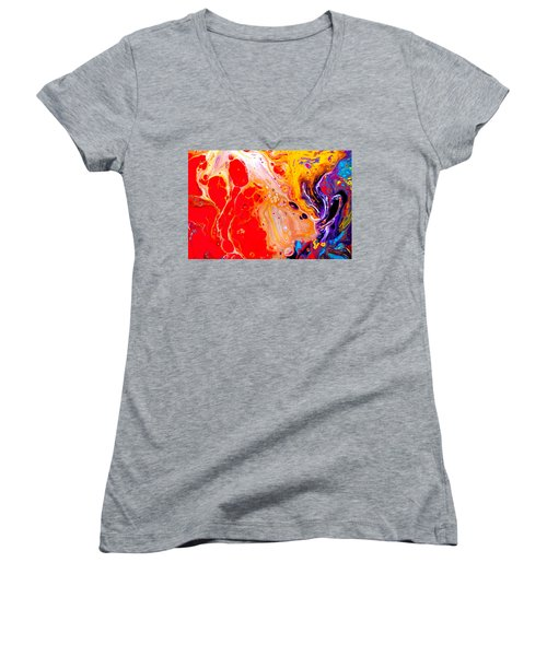 Singer - Colorful Abstract Painting Women's V-Neck