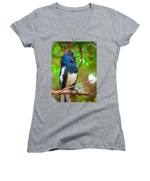 Singing Ceylonese Robin-magpie Women's V-Neck (Athletic Fit)