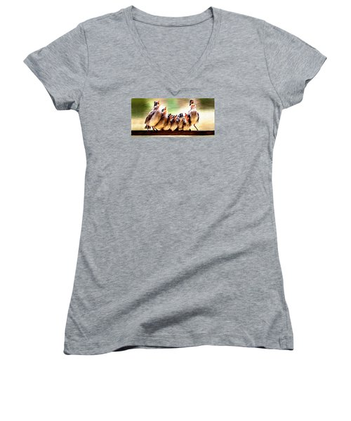 Women's V-Neck T-Shirt (Junior Cut) featuring the painting Singing For Supper by James Shepherd