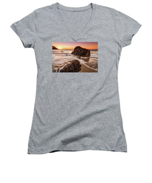 Women's V-Neck featuring the photograph Singing Water, Singing Beach by Michael Hubley
