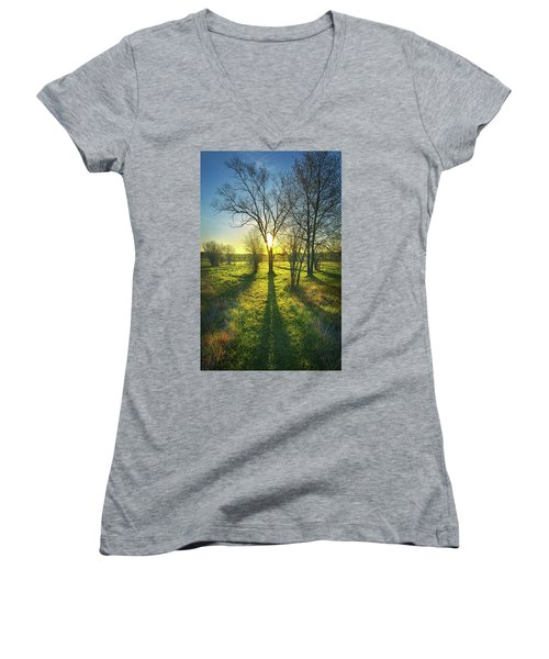 Women's V-Neck T-Shirt (Junior Cut) featuring the photograph Single Moments by Phil Koch
