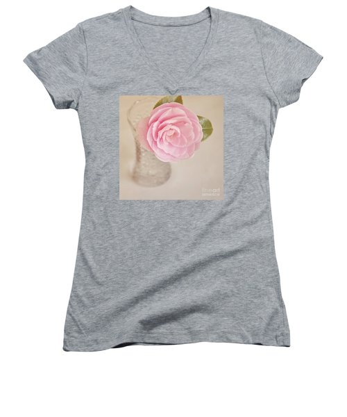 Women's V-Neck T-Shirt (Junior Cut) featuring the photograph Single Pink Camelia Flower In Clear Vase by Lyn Randle
