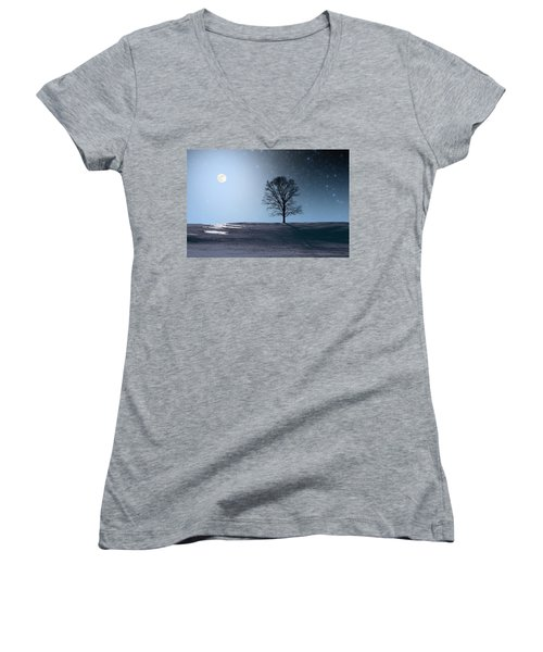 Women's V-Neck T-Shirt (Junior Cut) featuring the photograph Single Tree In Moonlight by Larry Landolfi